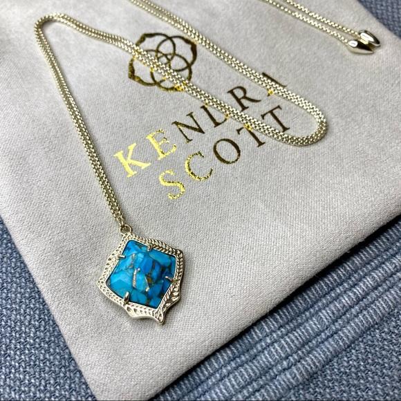 Kendra Scott Kacey Necklace in Bronze Veined Turq